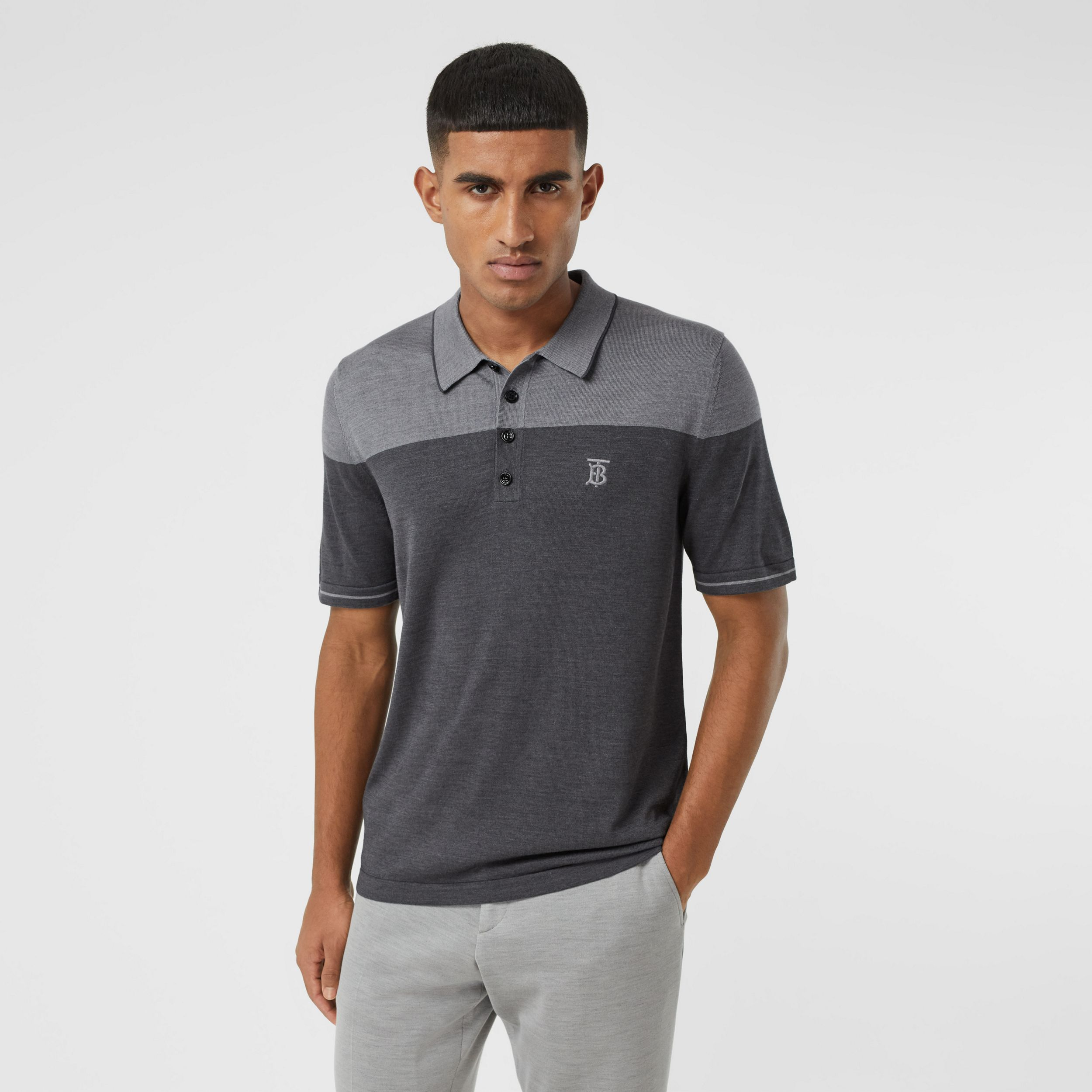 Monogram Motif Two-tone Silk Cashmere Polo Shirt in Charcoal - Men | Burberry - 1