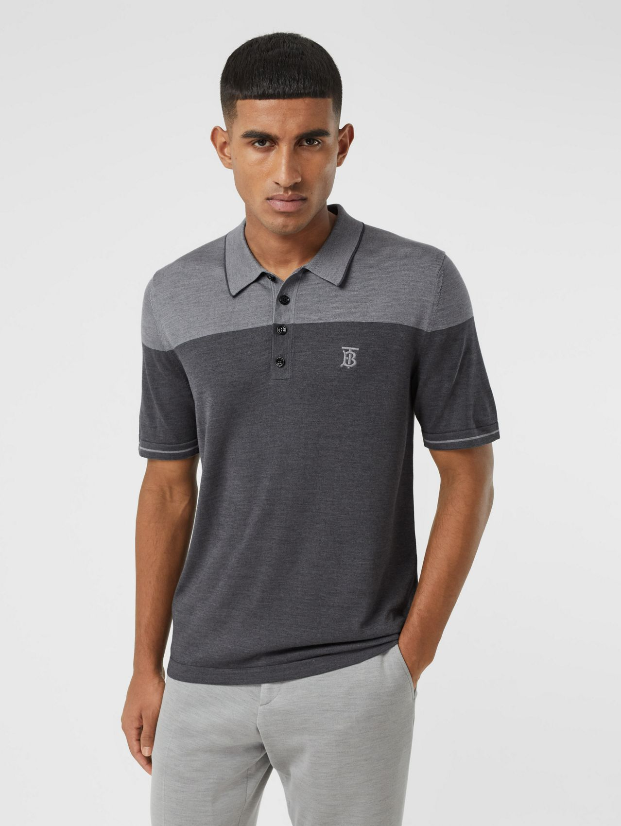 Monogram Motif Two-tone Silk Cashmere Polo Shirt in Charcoal