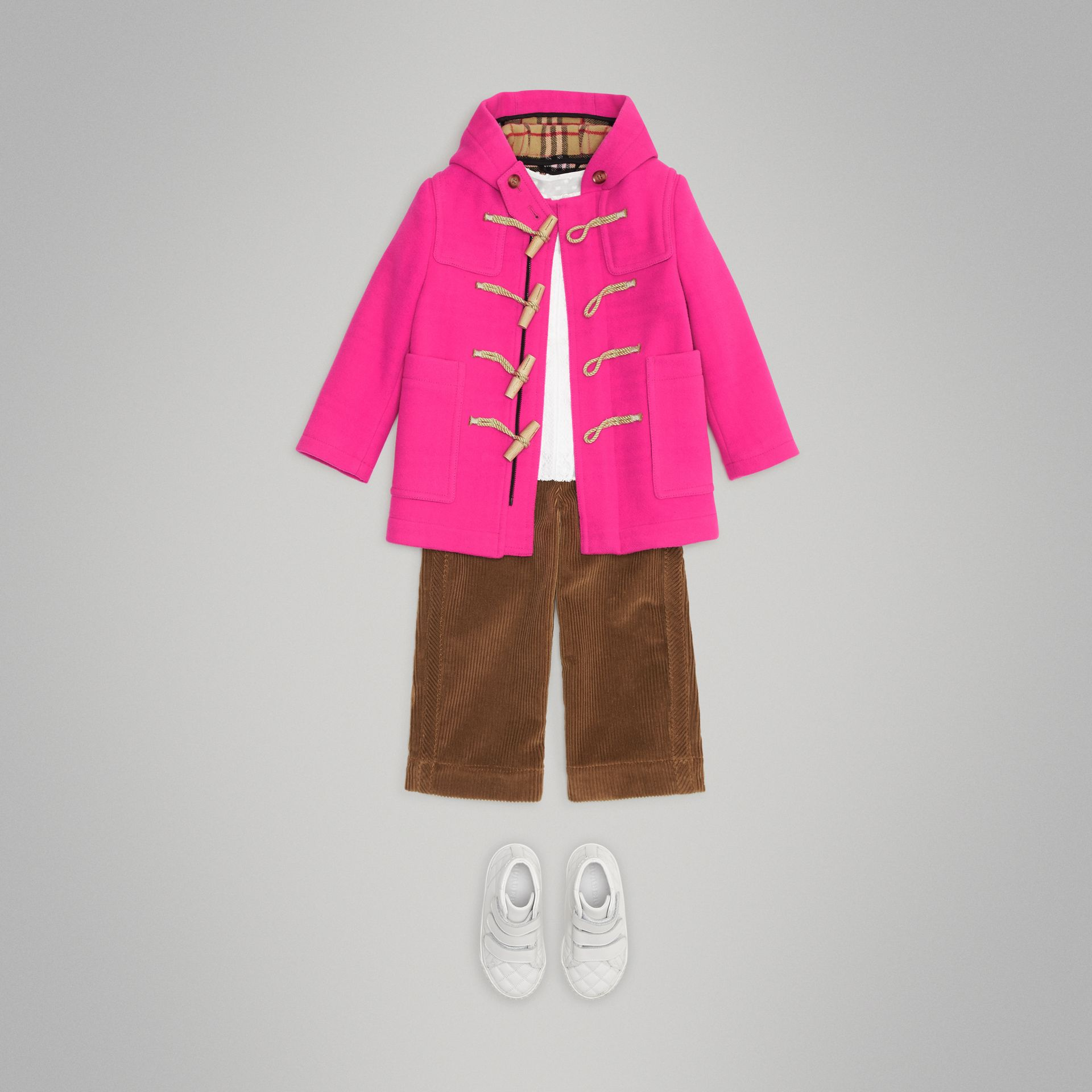 Double-faced Wool Duffle Coat in Neon Pink | Burberry - gallery image 2
