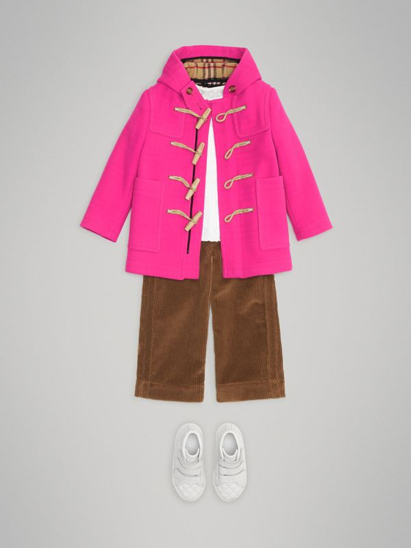 Double-faced Wool Duffle Coat in Neon Pink | Burberry - cell image 2