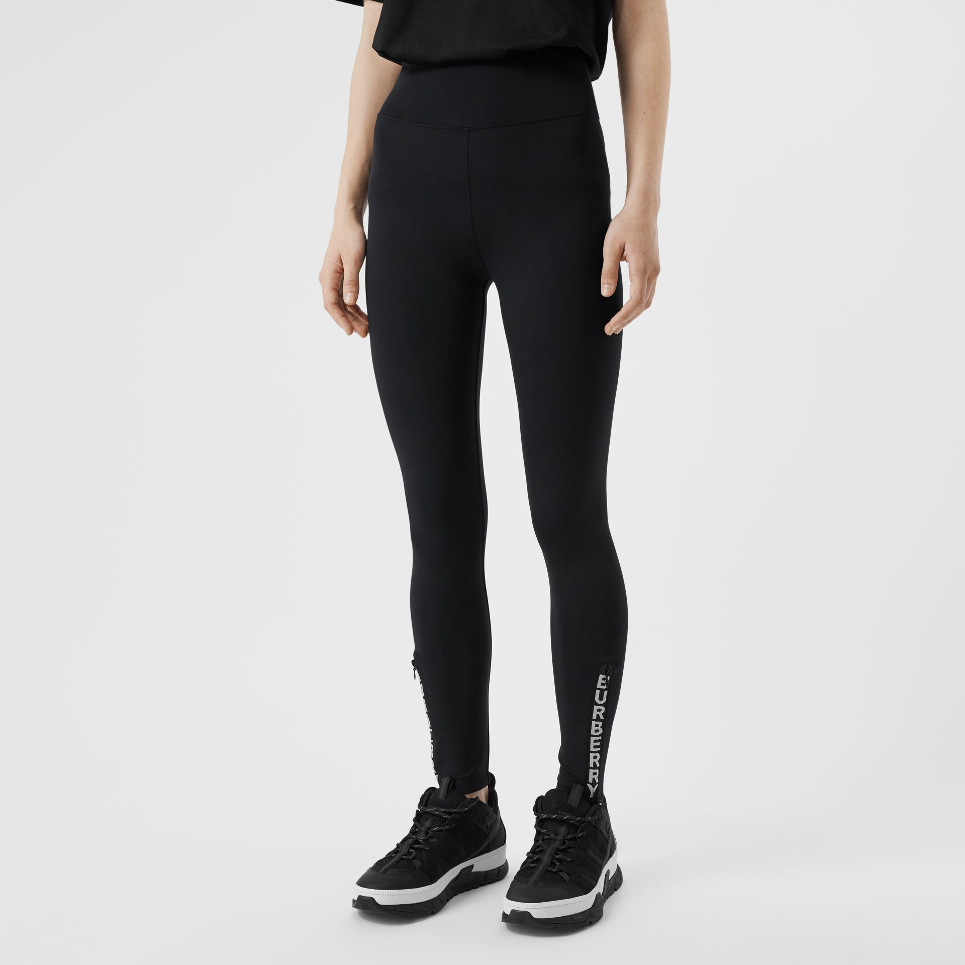 Logo Detail Stretch Jersey Leggings in Black - Women | Burberry - gallery image 4