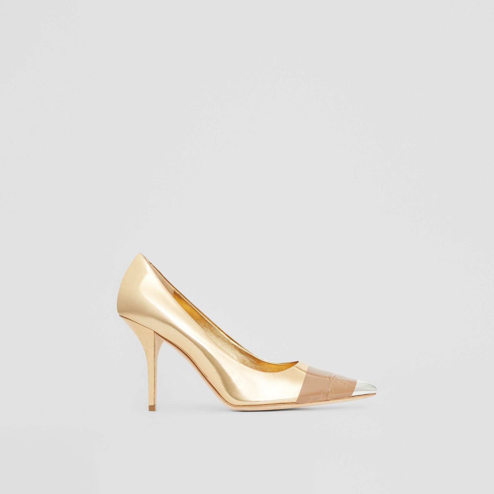 Tape Detail Mirrored Leather Pumps in Gold/silver - Women | Burberry Australia - gallery image 5