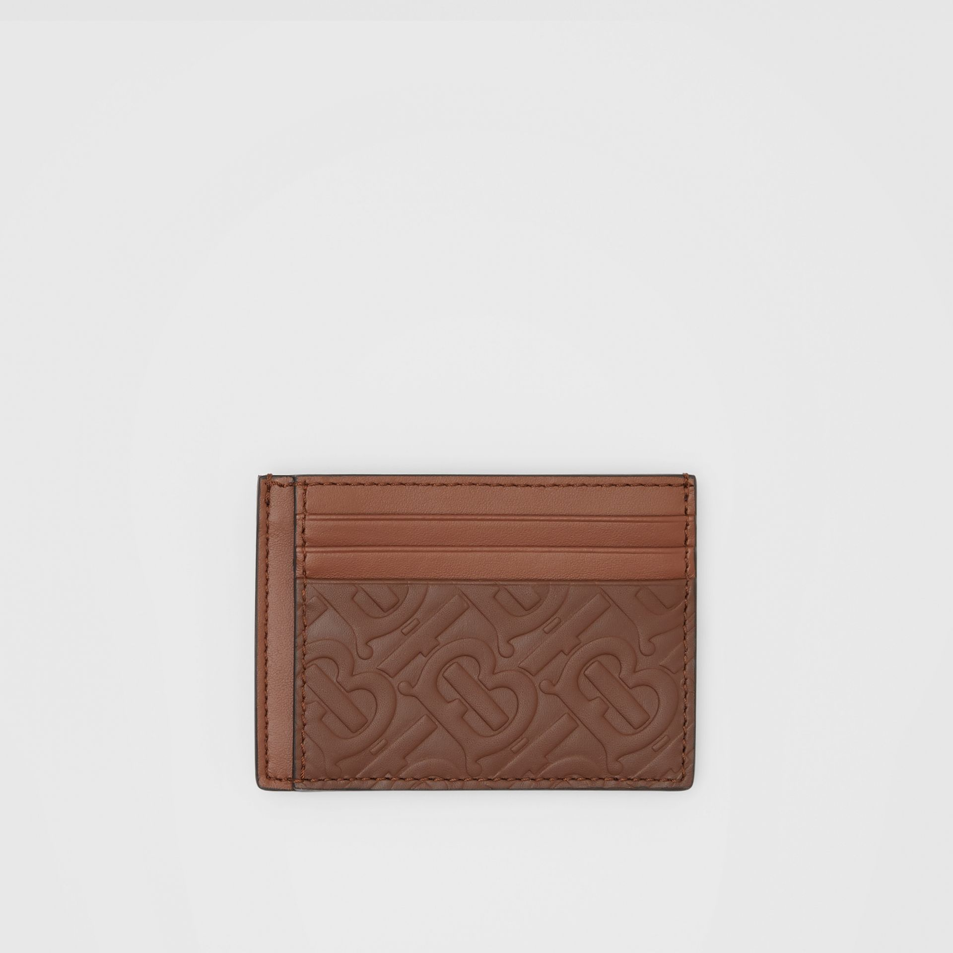 Monogram Leather Money Clip Card Case in Dark Tan - Men | Burberry United States - gallery image 0