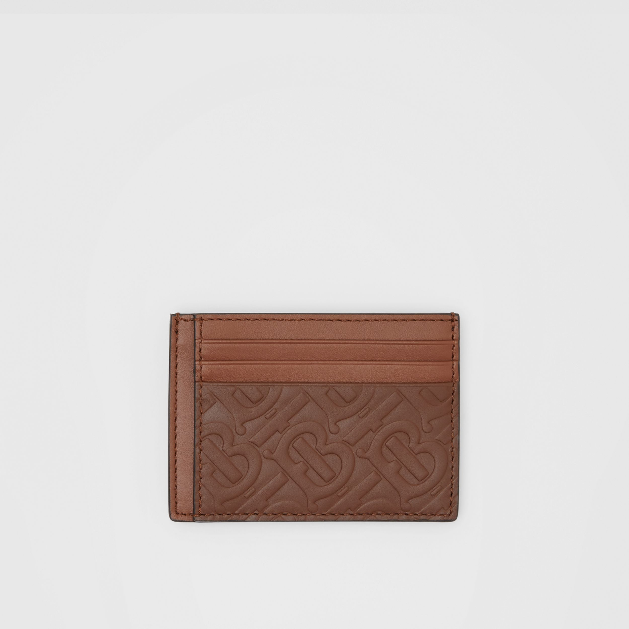 Monogram Leather Money Clip Card Case In Dark Tan Burberry