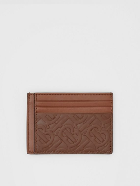Monogram Leather Money Clip Card Case in Dark Tan