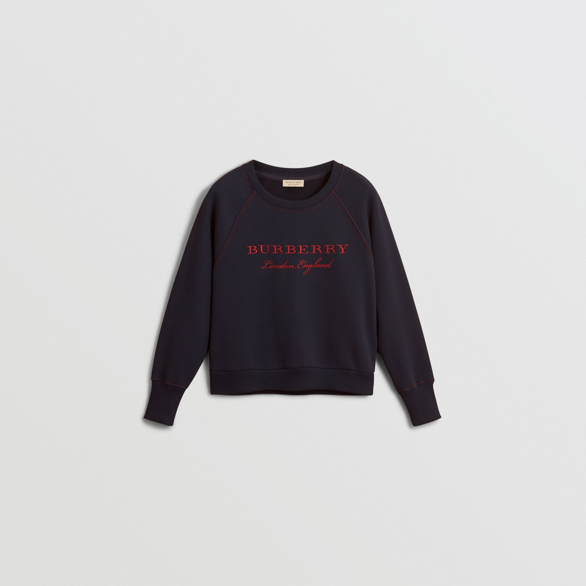 Embroidered Cotton Blend Jersey Sweatshirt in Navy - Women | Burberry United Kingdom - gallery image 3
