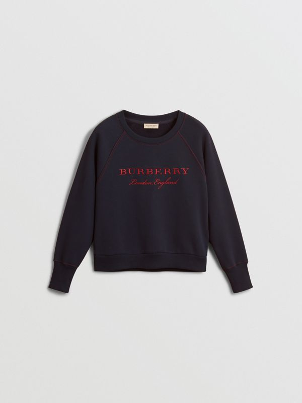 Embroidered Cotton Blend Jersey Sweatshirt in Navy - Women | Burberry United Kingdom - cell image 3