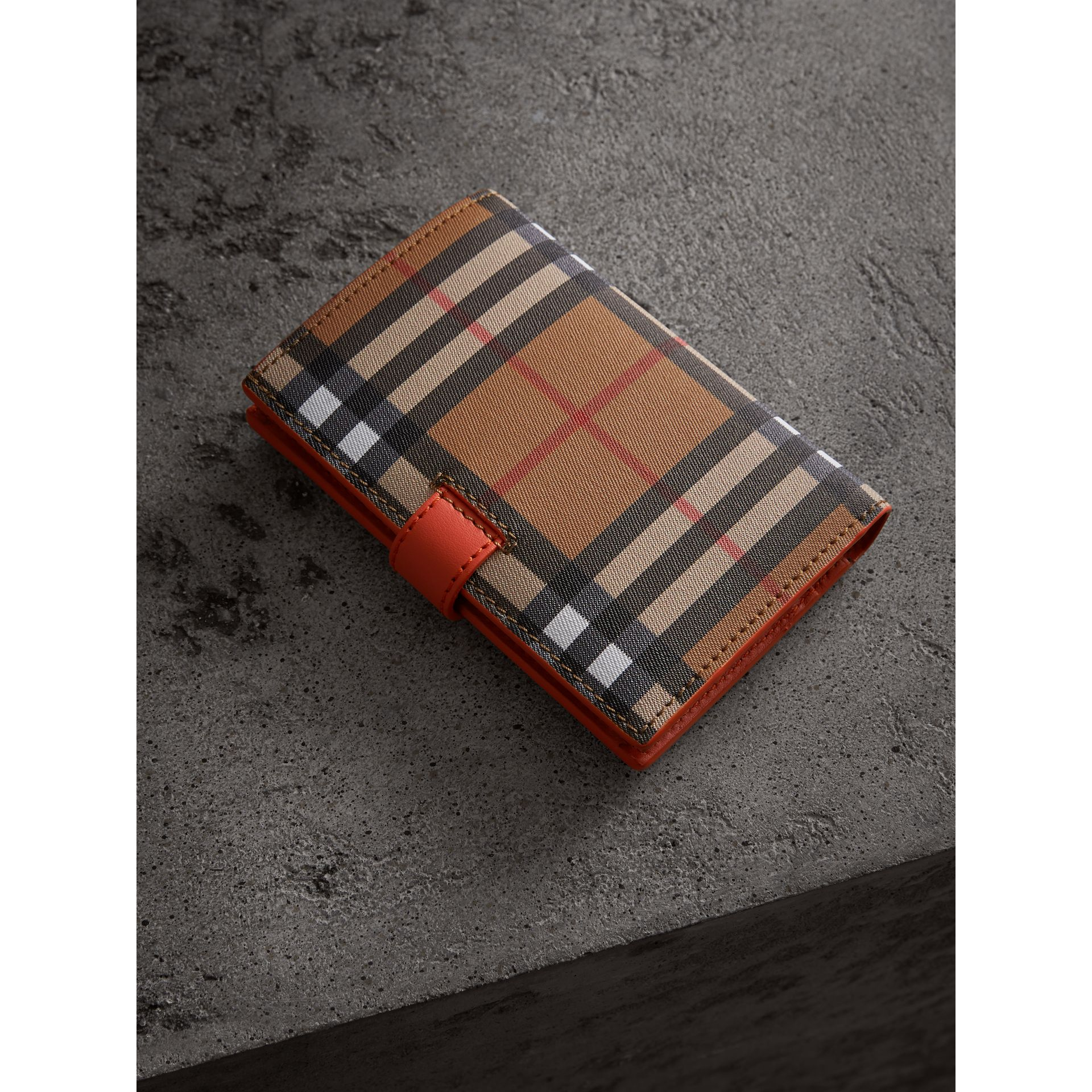 Vintage Check and Leather Folding Wallet in Clementine - Women | Burberry - gallery image 2
