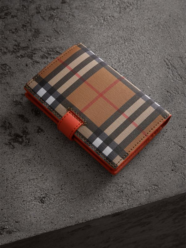 Vintage Check and Leather Folding Wallet in Clementine - Women | Burberry Australia - cell image 2