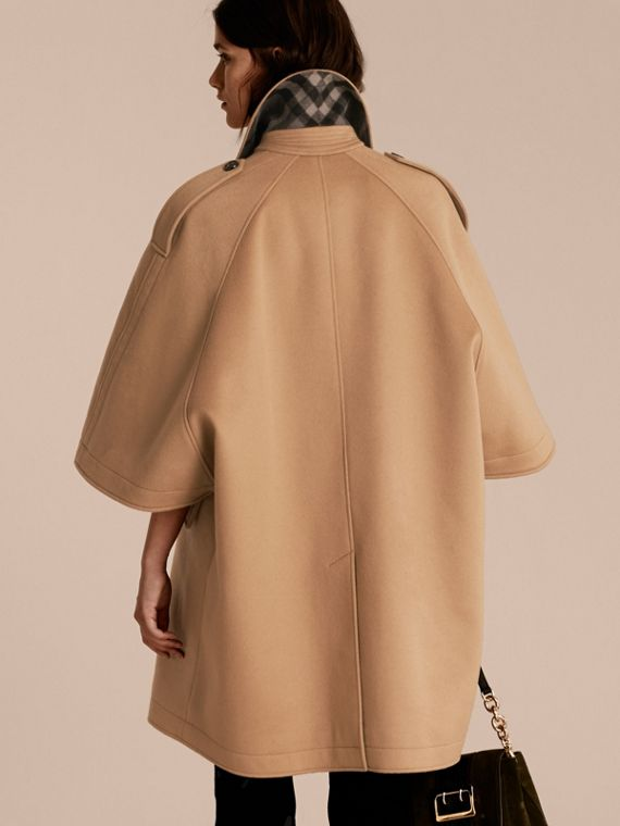 Camel Wool Cashmere Trench Cape Coat - cell image 2
