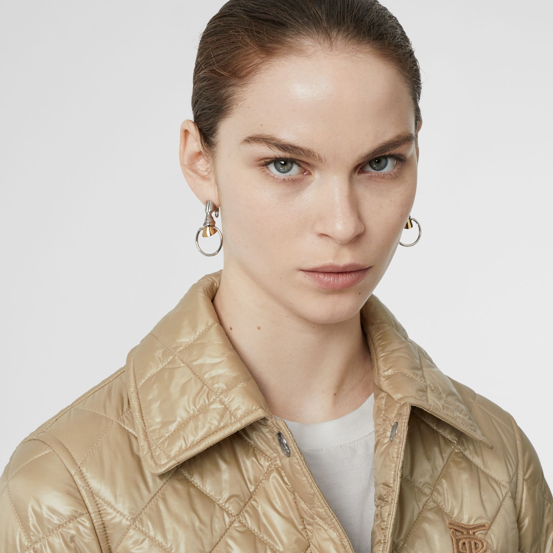 Monogram Motif Diamond Quilted Jacket in Honey - Women | Burberry - gallery image 1