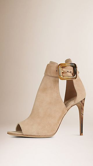 Cut-out Peep-toe Suede Ankle Boots