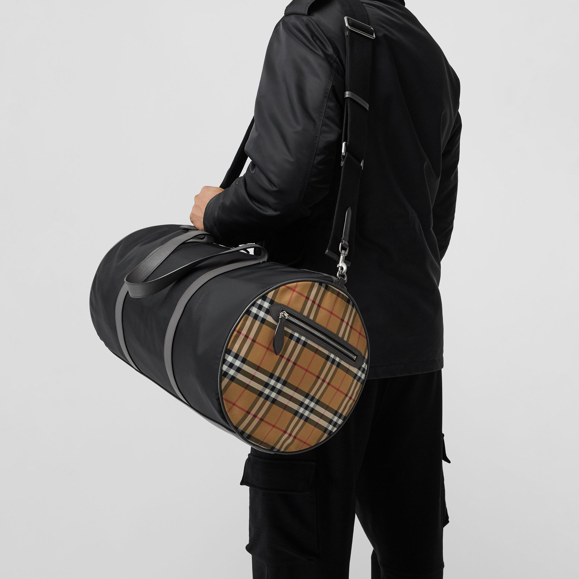 Large Nylon and Vintage Check Barrel Bag in Black - Men | Burberry Australia - gallery image 3