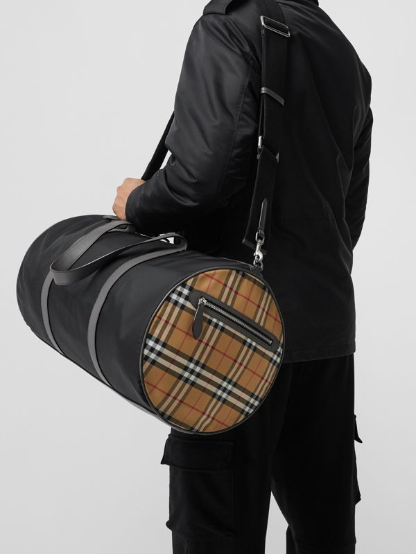 Large Nylon and Vintage Check Barrel Bag in Black - Men | Burberry - cell image 3