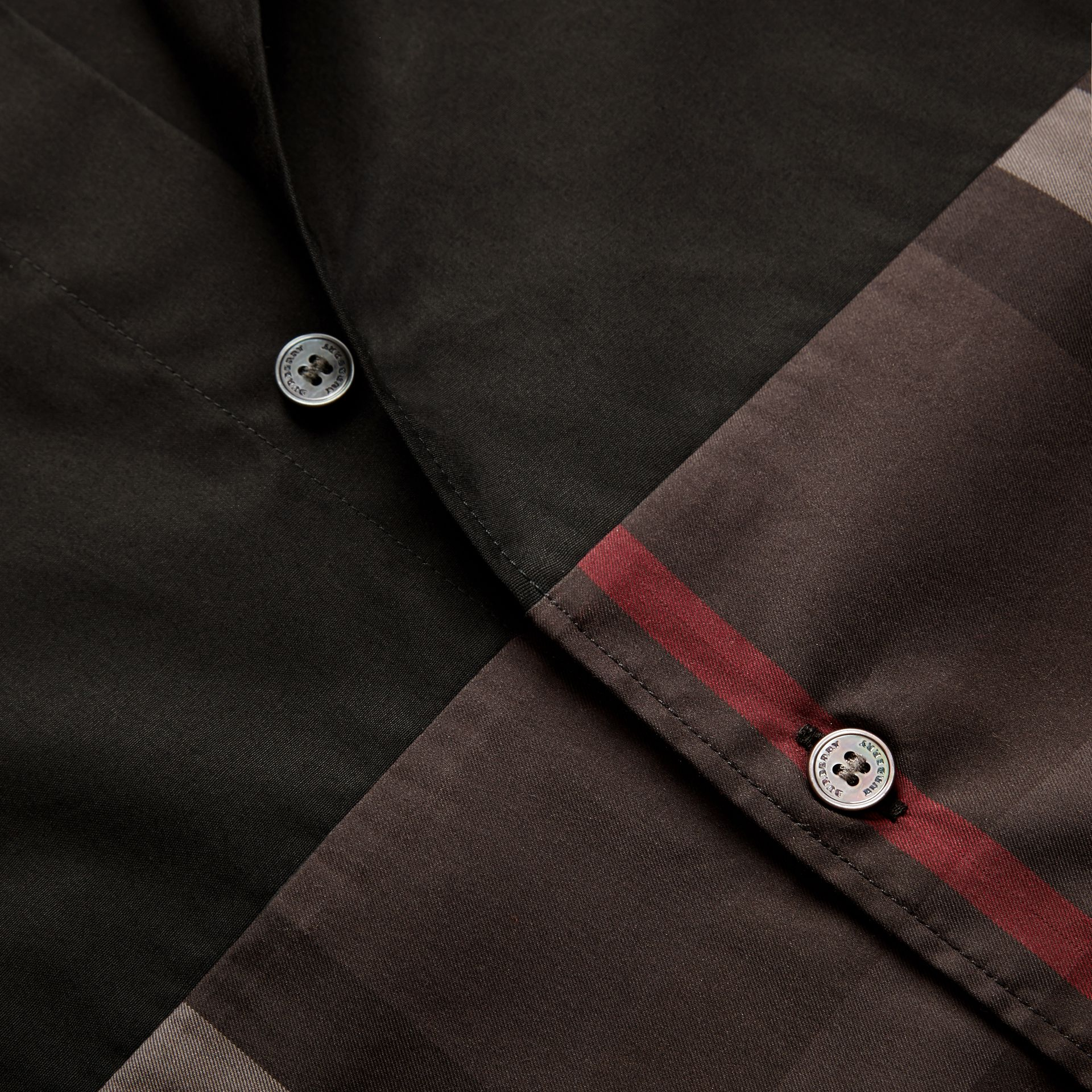 Black Check Panel Stretch-Cotton Poplin Shirt Black - gallery image 2
