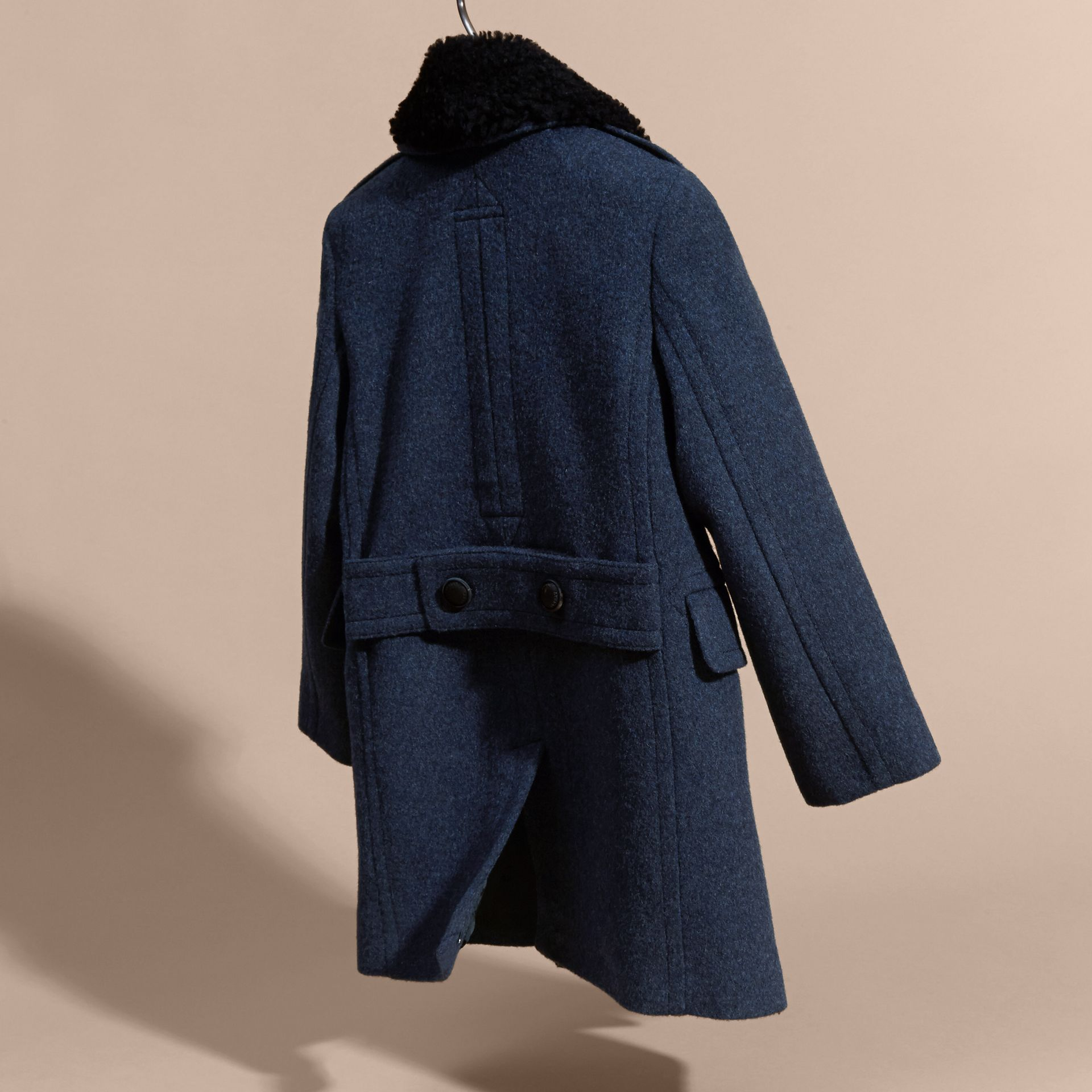 Airforce blue Technical Wool Coat with Detachable Shearling Collar - gallery image 7