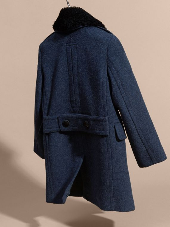 Airforce blue Technical Wool Coat with Detachable Shearling Collar - cell image 3