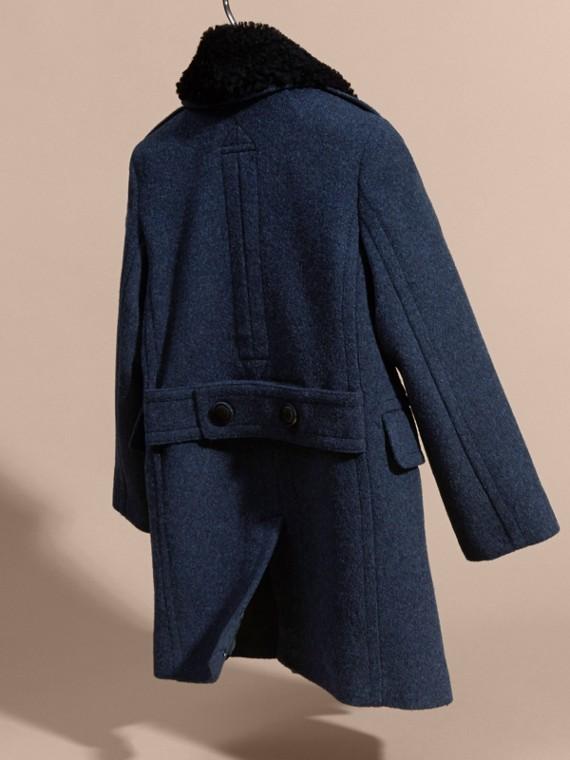 Bleu aérien Manteau en laine technique avec col amovible en shearling - cell image 3