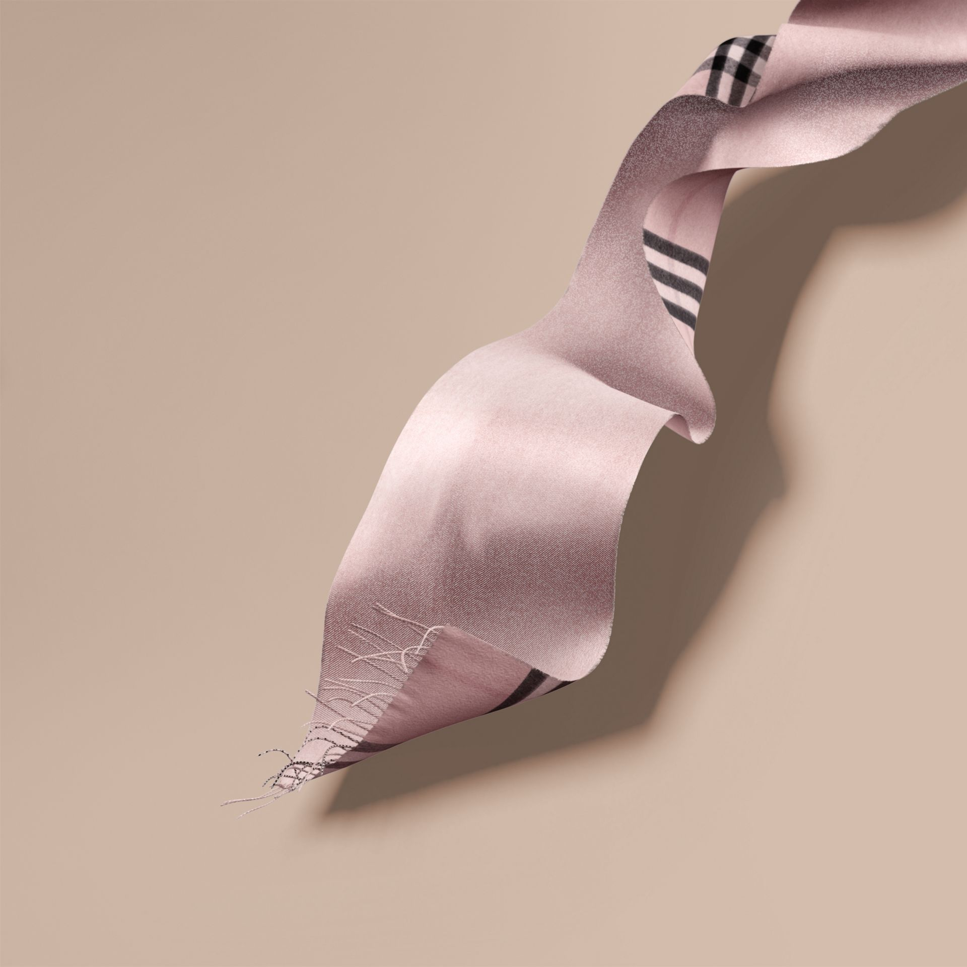 Reversible Metallic Check Cashmere Scarf in Ash Rose | Burberry Australia - gallery image 7