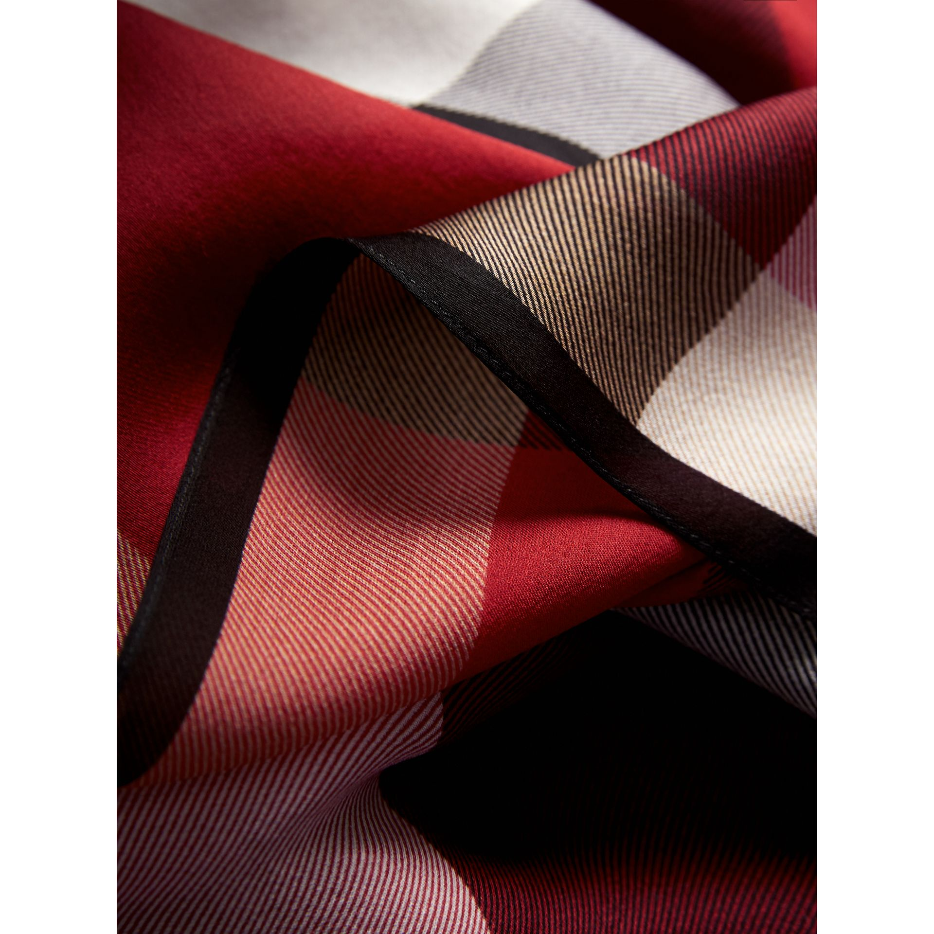 Lightweight Check Silk Scarf in Parade Red - Women | Burberry - gallery image 1