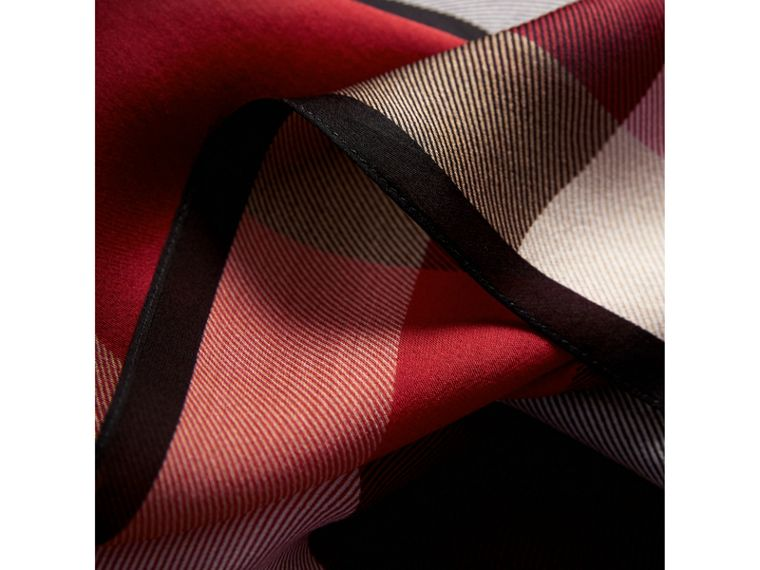 Lightweight Check Silk Scarf in Parade Red - Women | Burberry - cell image 1