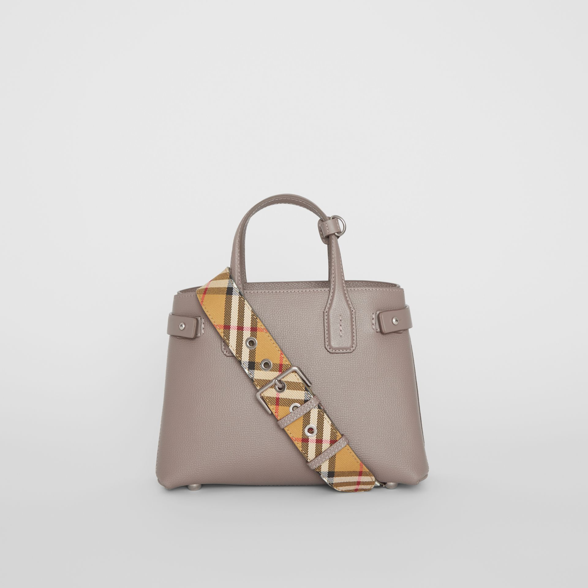 The Small Banner in Leather and Vintage Check in Taupe Brown - Women | Burberry - gallery image 7