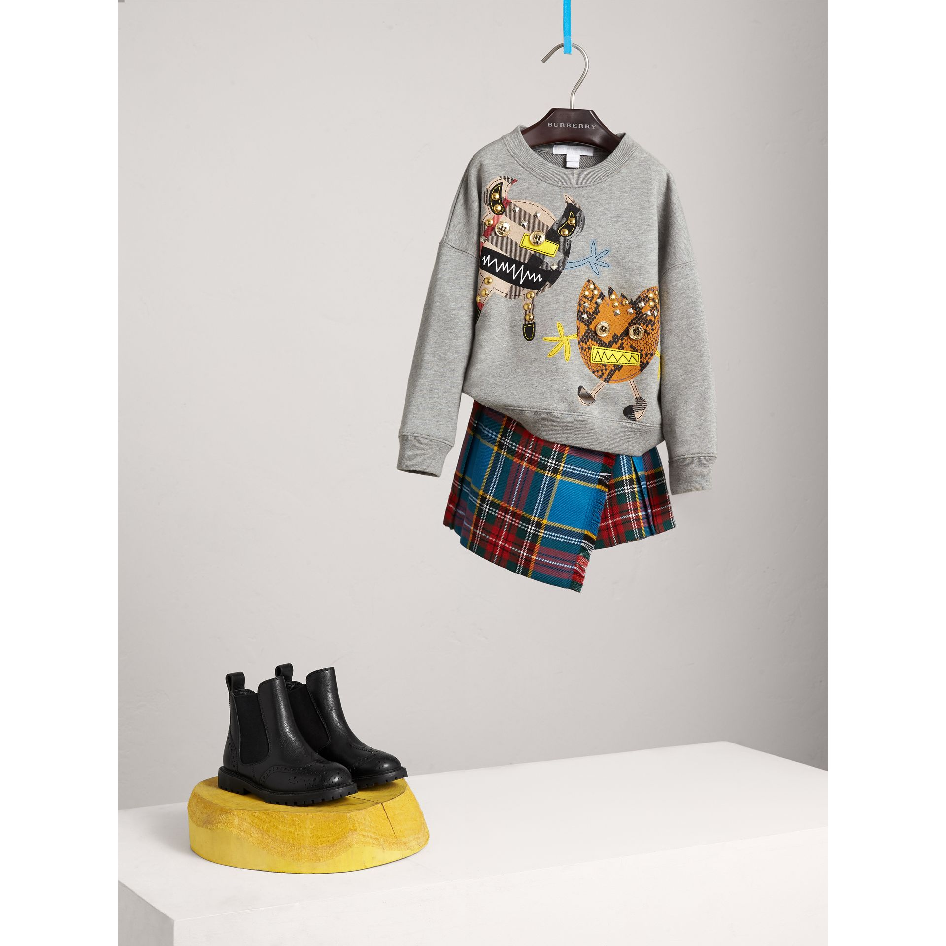 Creature Motif Cotton Sweatshirt in Grey Melange - Girl | Burberry - gallery image 0