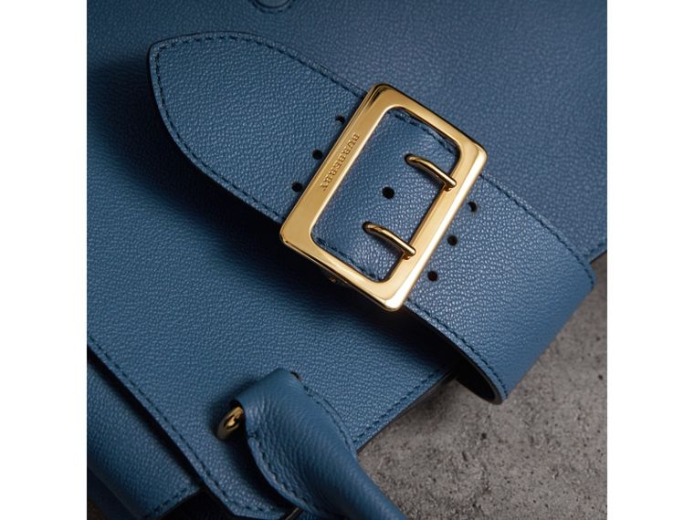 The Medium Buckle Tote in Grainy Leather in Steel Blue - Women | Burberry Australia - cell image 1