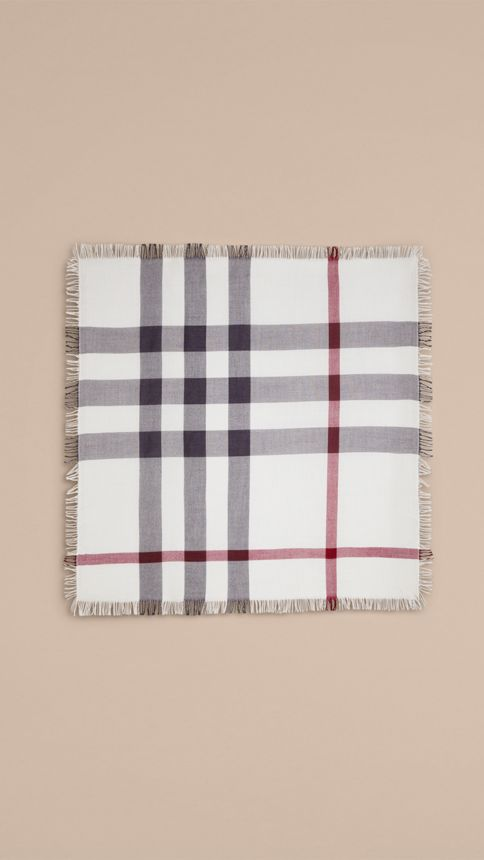 Ivory check Check Wool Square - Large Ivory - Image 4