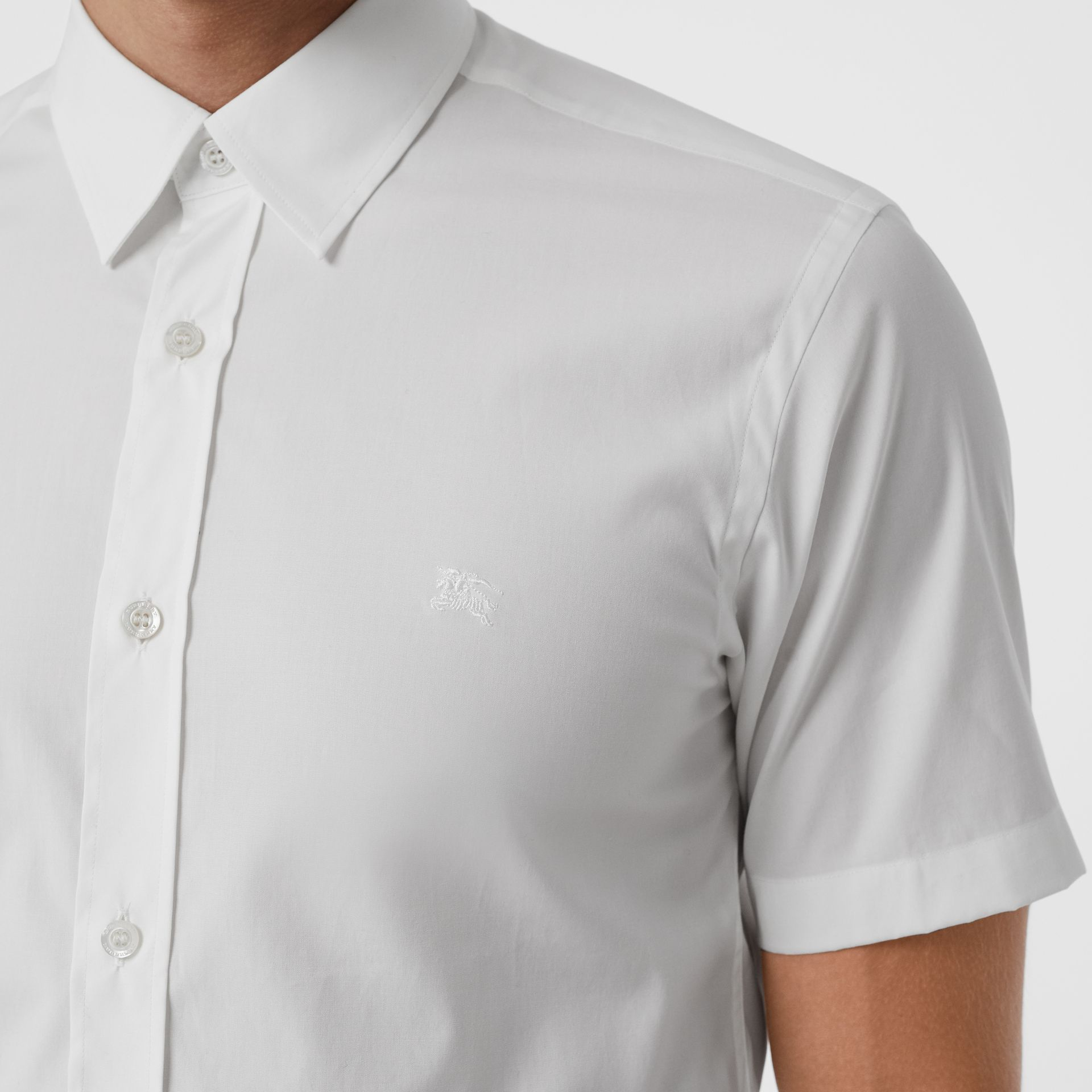 Short-sleeve Stretch Cotton Shirt in White - Men | Burberry Australia - gallery image 1