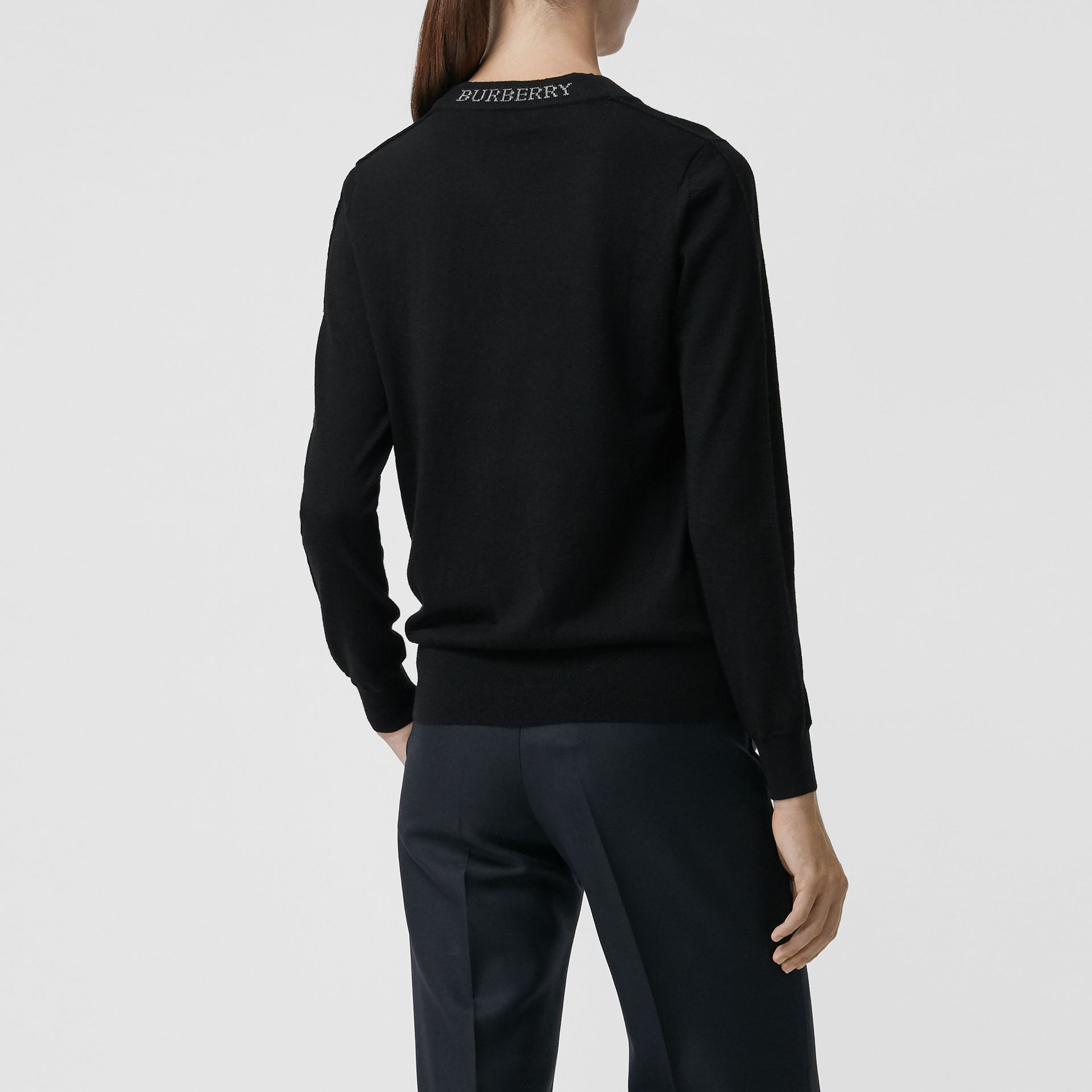 Merino Wool Crew Neck Sweater in Black - Women | Burberry - gallery image 2