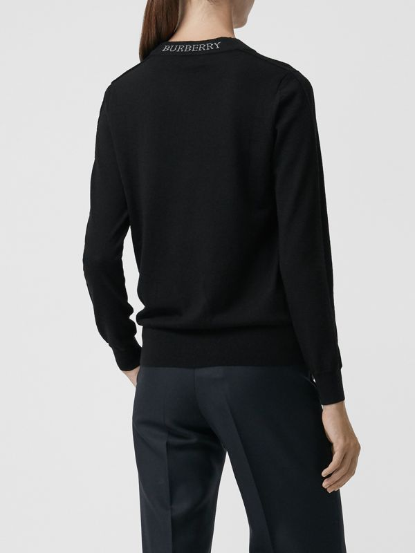 Merino Wool Crew Neck Sweater in Black - Women | Burberry - cell image 2