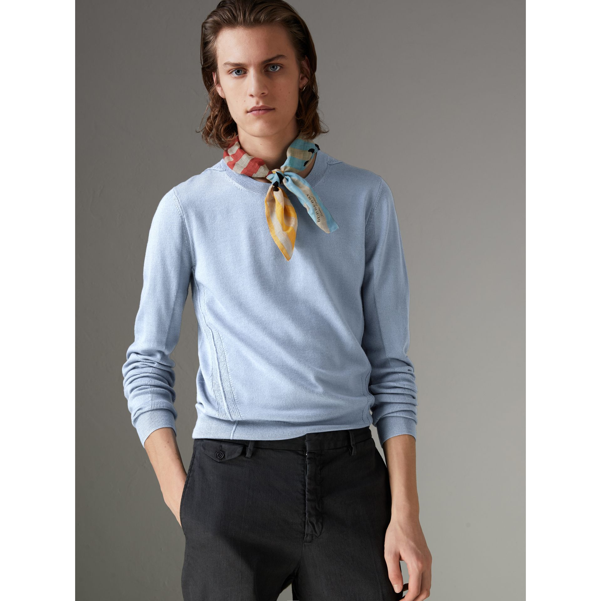 Check Detail Merino Wool Sweater in Stone Blue - Men | Burberry - gallery image 0