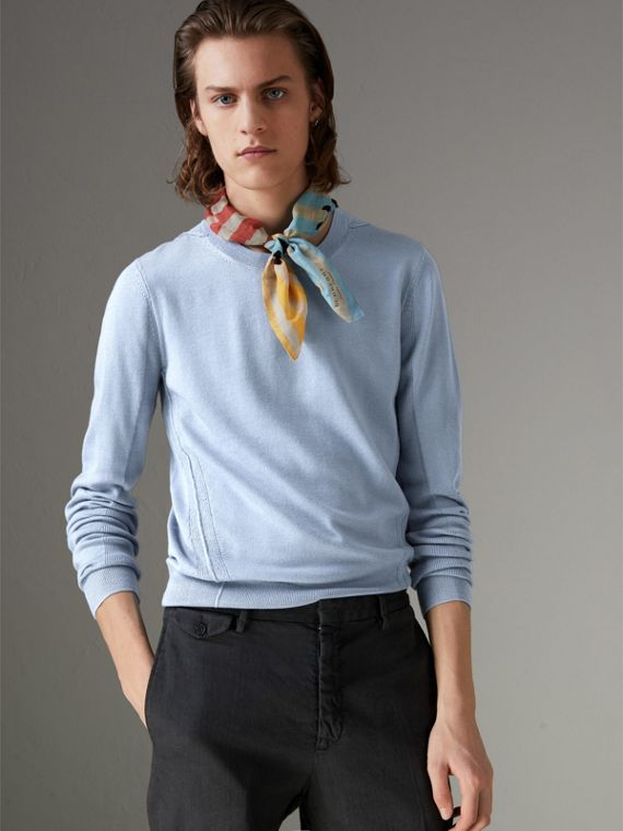 Check Detail Merino Wool Sweater in Stone Blue