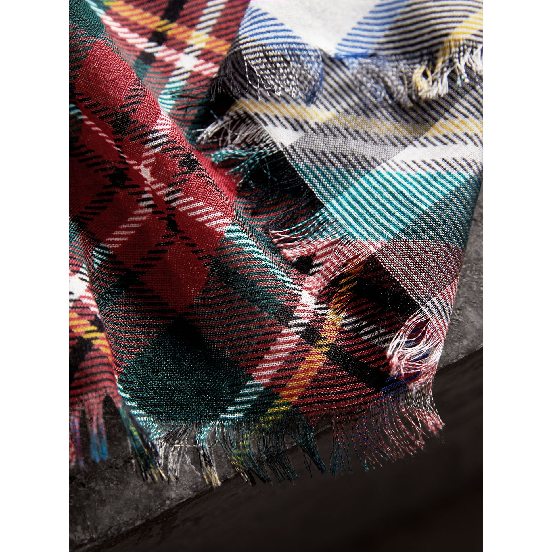 Tartan and Check Wool-silk Scarf in Red | Burberry - gallery image 2