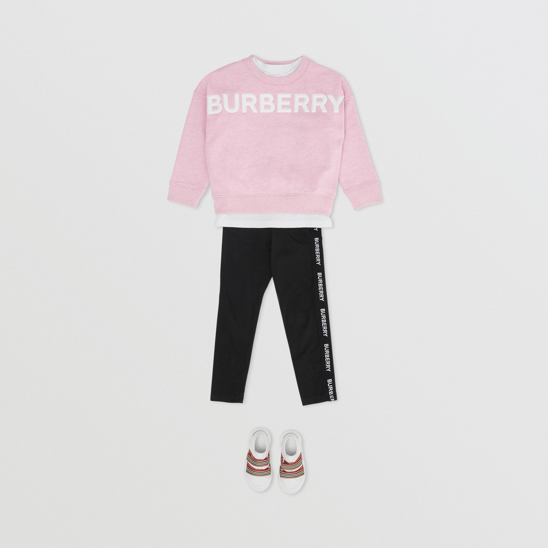 Logo Detail Cotton Sweatshirt in Pale Neon Pink - Girl | Burberry - gallery image 2