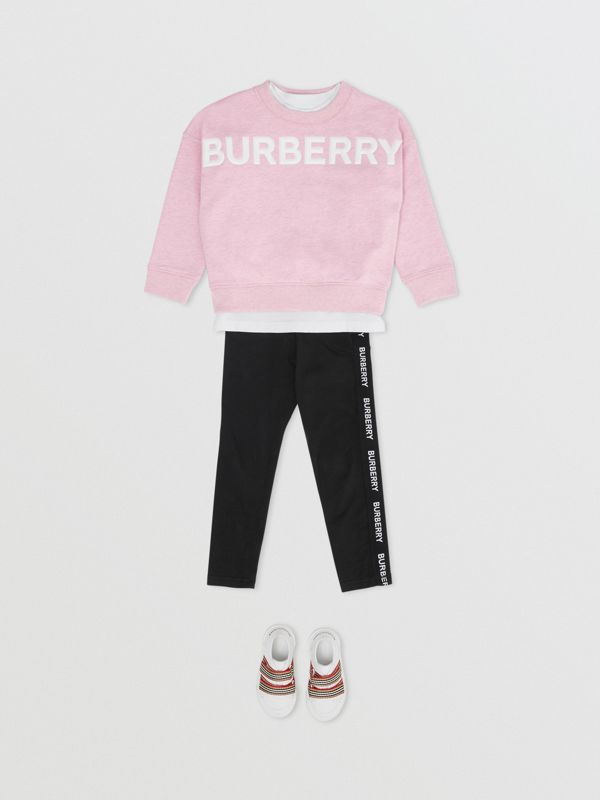 Logo Detail Cotton Sweatshirt in Pale Neon Pink - Girl | Burberry - cell image 2