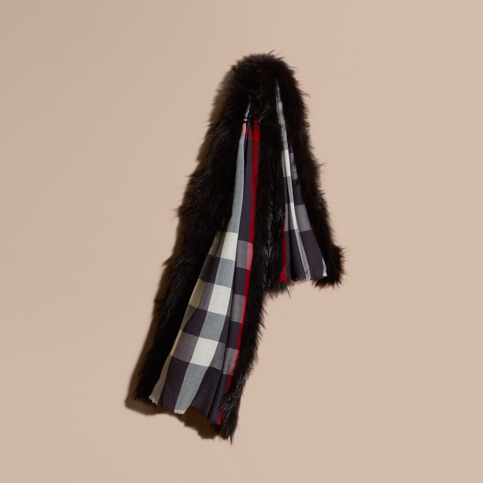 Raccoon Trim Check Wool Cashmere Scarf in Navy - Women | Burberry - gallery image 1