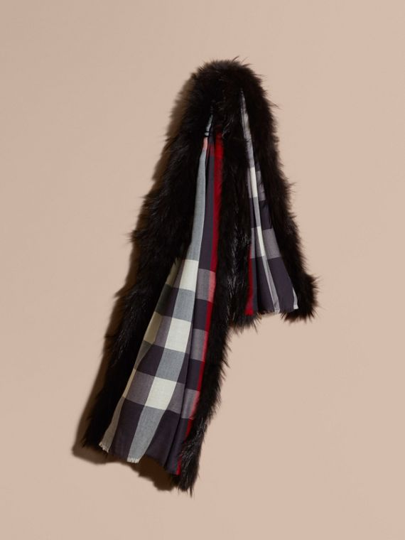 Raccoon Trim Check Wool Cashmere Scarf in Navy - Women | Burberry
