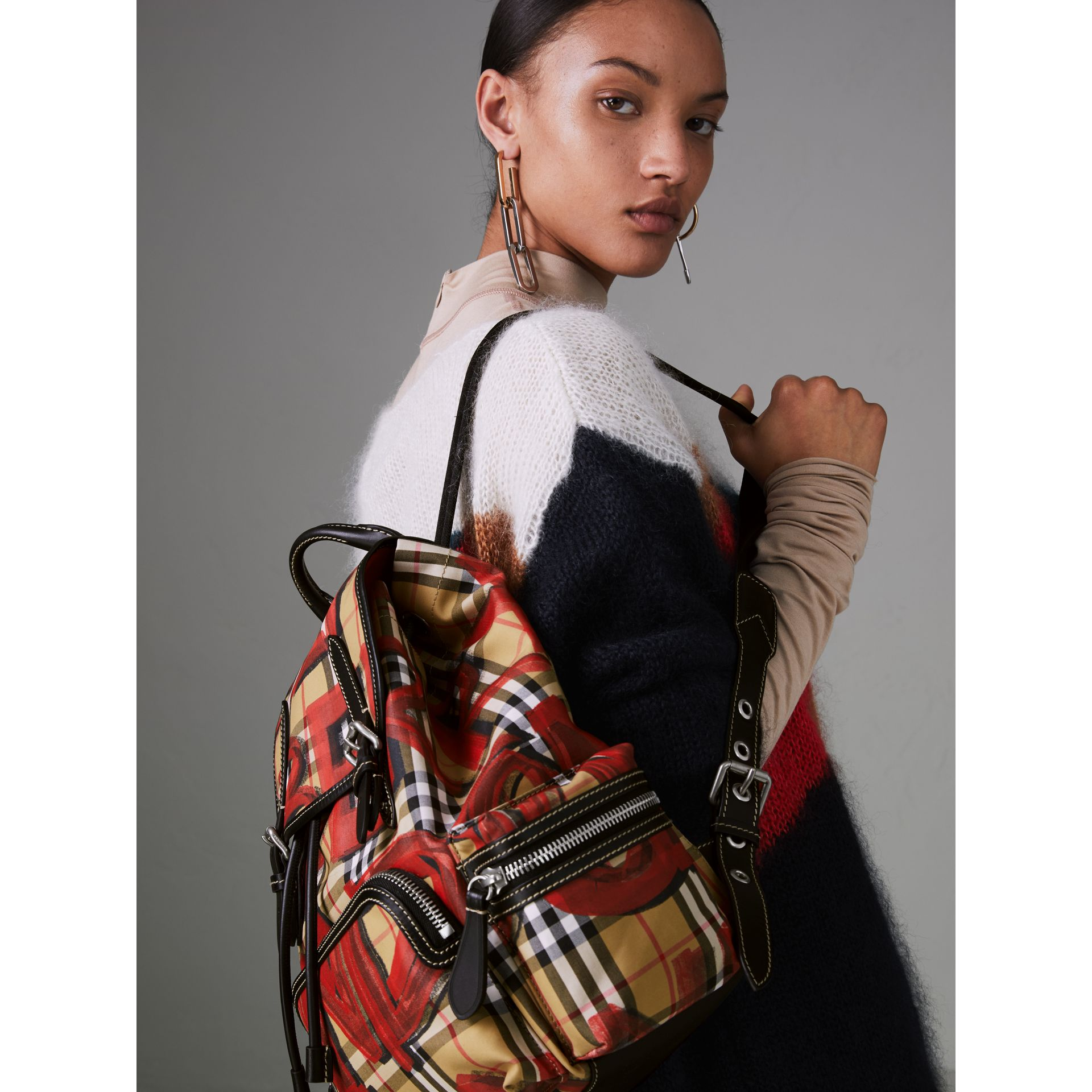 The Medium Rucksack in Graffiti Print Vintage Check in Antique Yellow/red - Women | Burberry Australia - gallery image 2