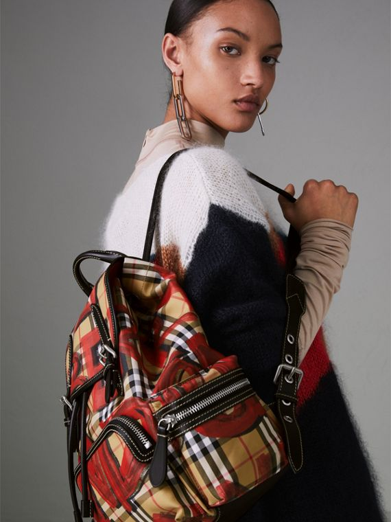 The Medium Rucksack in Graffiti Print Vintage Check in Antique Yellow/red - Women | Burberry United Kingdom - cell image 2