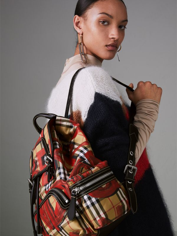 The Medium Rucksack in Graffiti Print Vintage Check in Antique Yellow/red - Women | Burberry Australia - cell image 2
