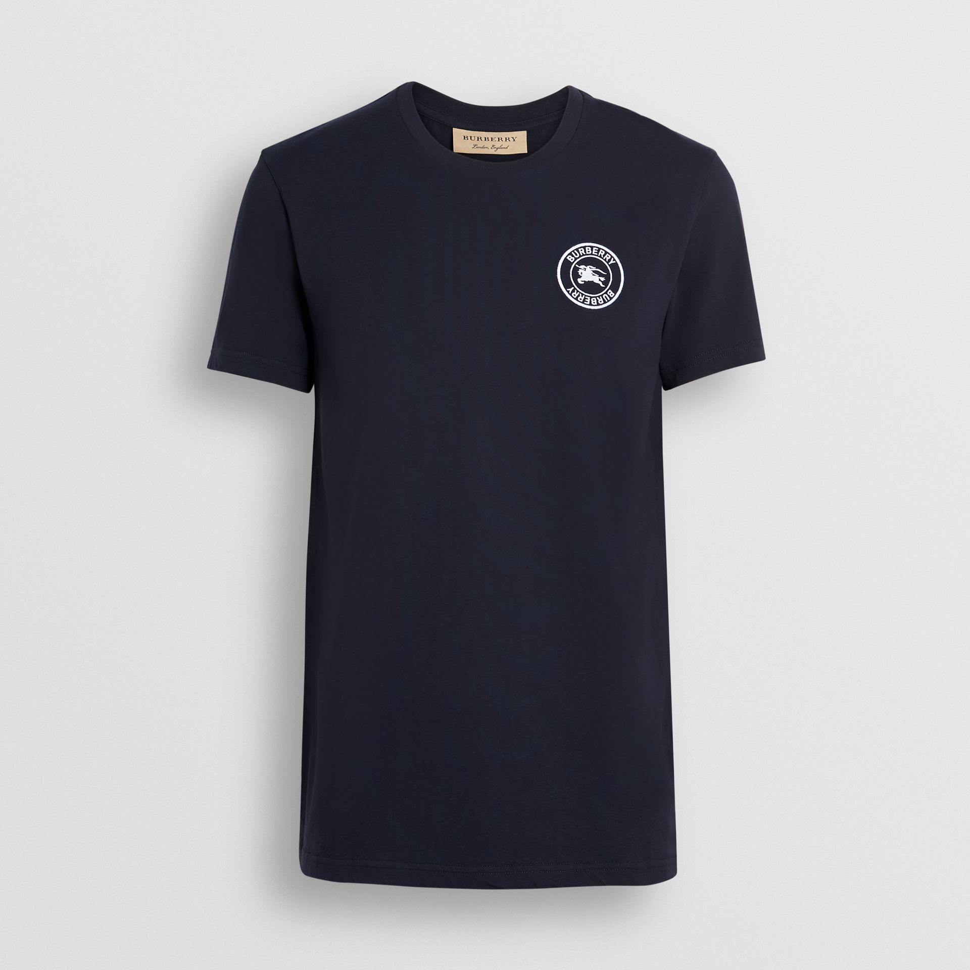 Embroidered Logo Cotton T-shirt in Navy - Men | Burberry - gallery image 3
