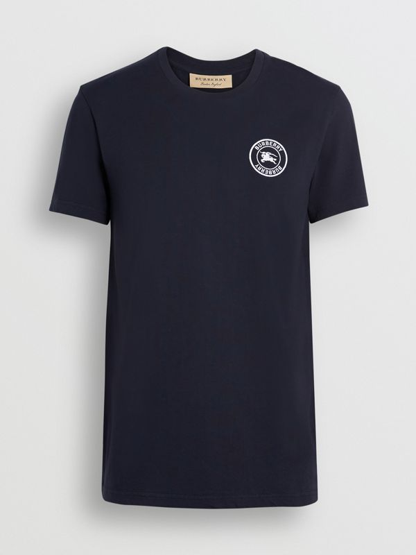 Embroidered Logo Cotton T-shirt in Navy - Men | Burberry - cell image 3
