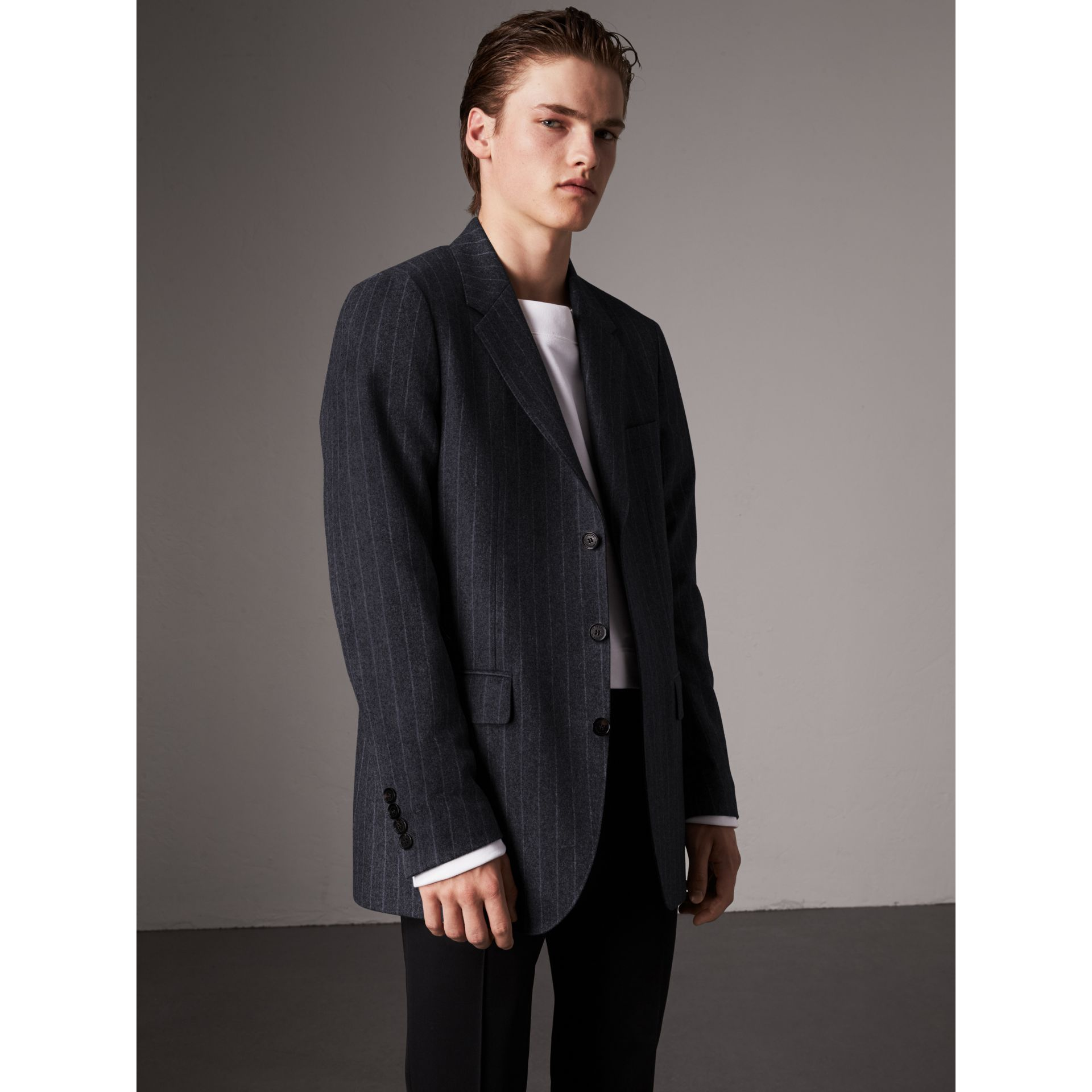 Pinstripe Wool Tailored Jacket in Navy - Men | Burberry United Kingdom - gallery image 5
