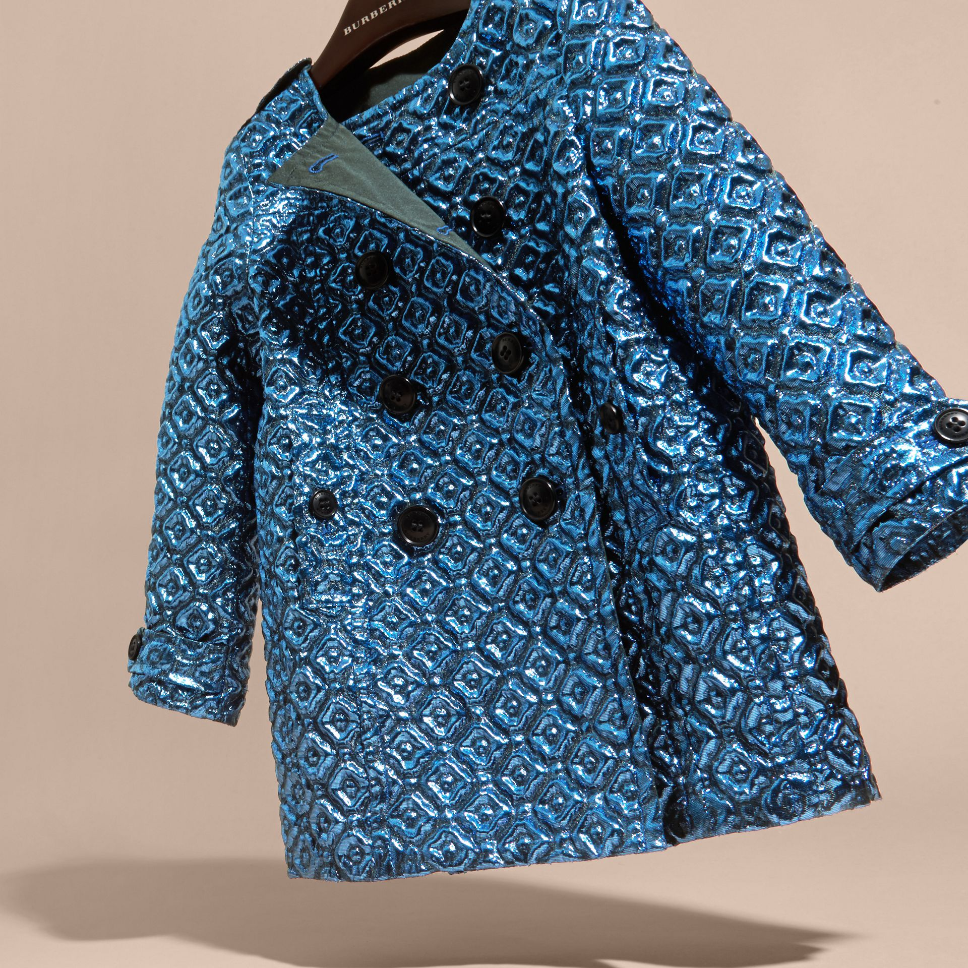 Diamond Matelassé Cocoon Coat in Steel Blue - gallery image 3