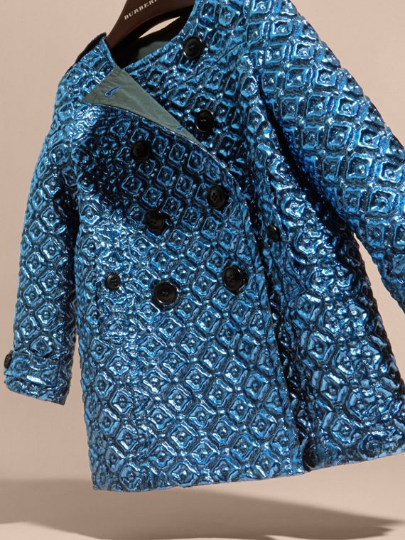 Steel blue Diamond Matelassé Cocoon Coat Steel Blue - cell image 2