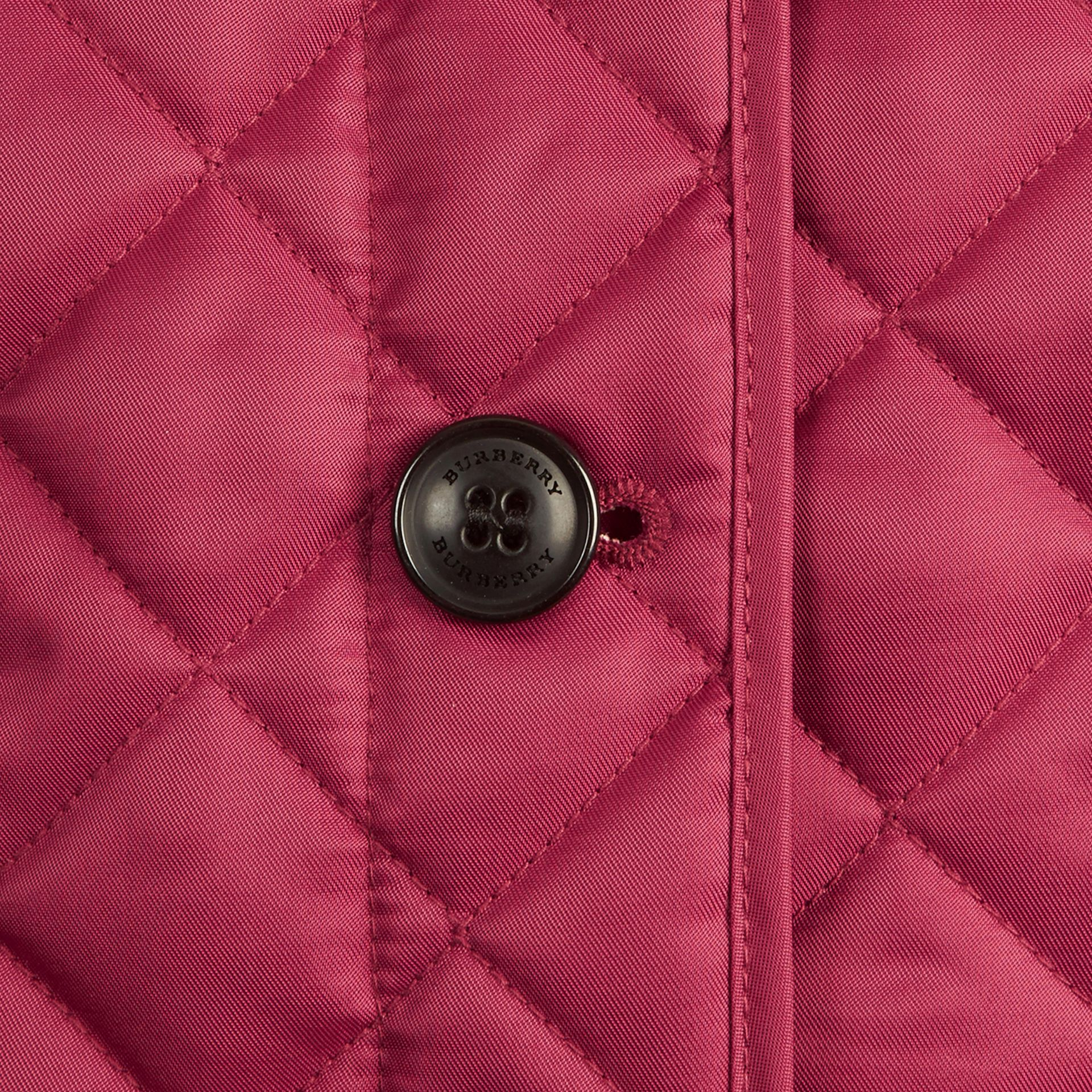Check Lined Diamond Quilted Jacket in Fritillary Pink - Girl | Burberry - gallery image 2