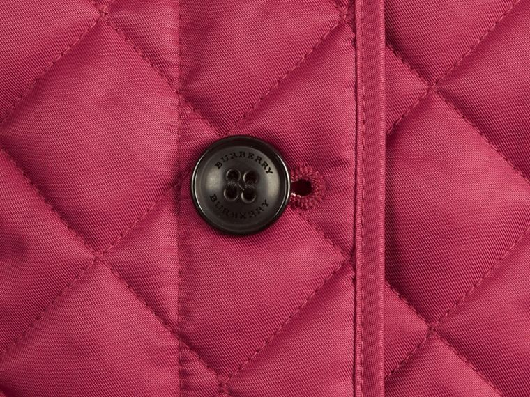 Check Lined Diamond Quilted Jacket in Fritillary Pink - Girl | Burberry - cell image 1