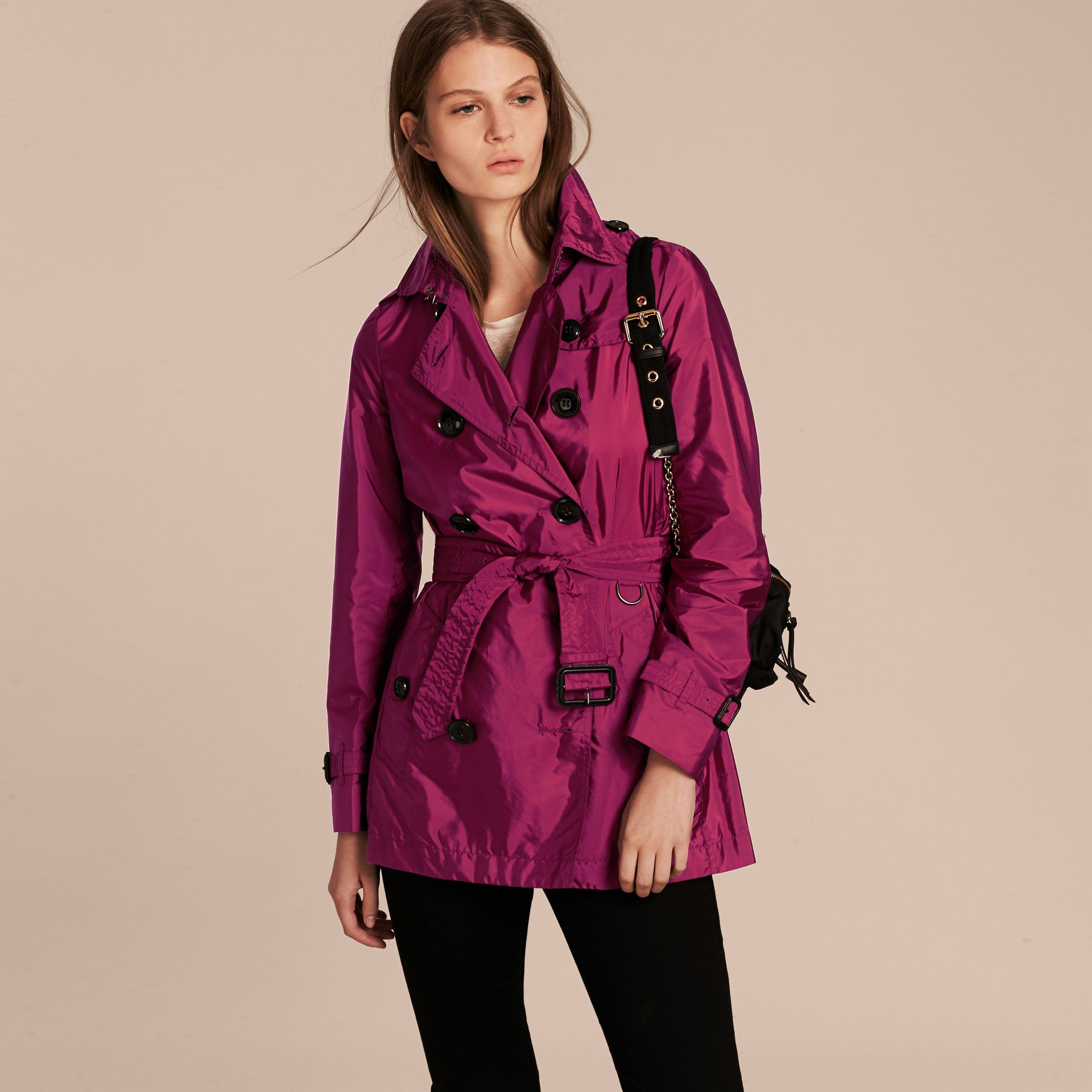 Lightweight Trench Coat in Berry Pink - gallery image 7